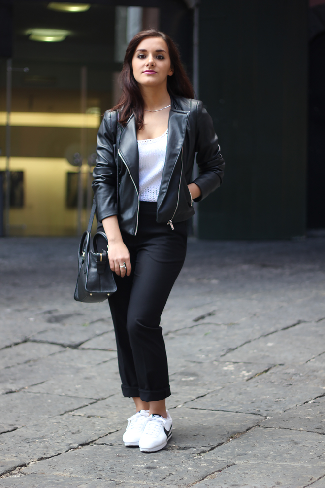 05-chiara-lanero-fashion-blogger-napoli-outfit-leather-jacket-zara-dkny-nike-cortez