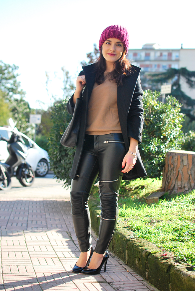 Chenille Hat And Leather Trousers Chiara Lanero Blog